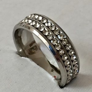 Other - Sz 11 Stainless Steel with Clear Sapphires Ring
